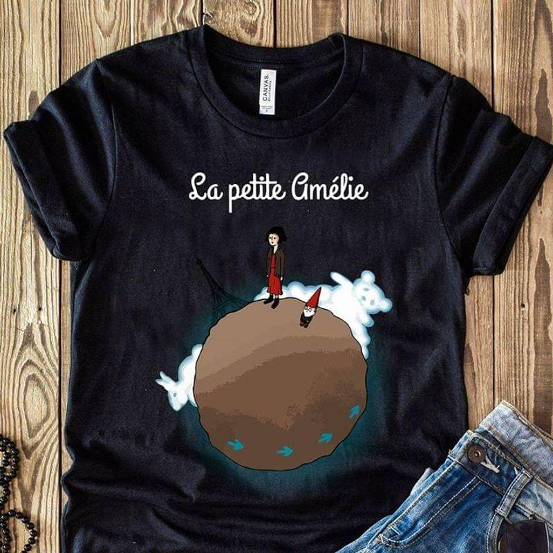Eiffel Paris Girl With Dwarf Rabbit Bear Cloud The Earth La Petite Cimelie Black T Shirt Men/ Woman S-6XL Cotton