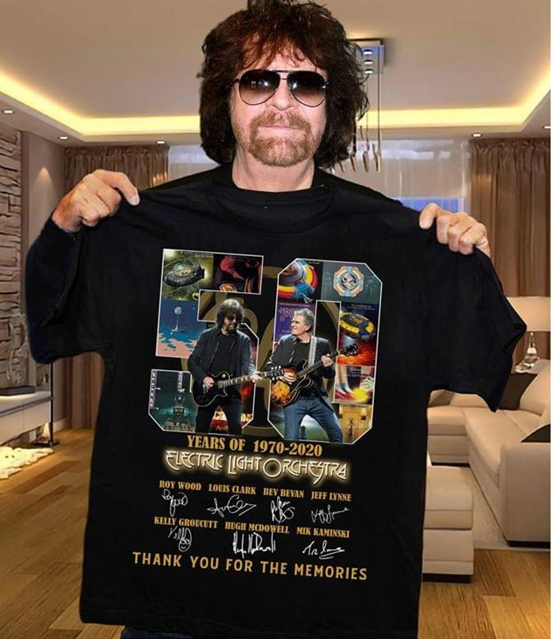 Electric Light Orchestra Fans 50 Years Thank You For The Memories Signature Black T Shirt Men/ Woman S-6XL Cotton