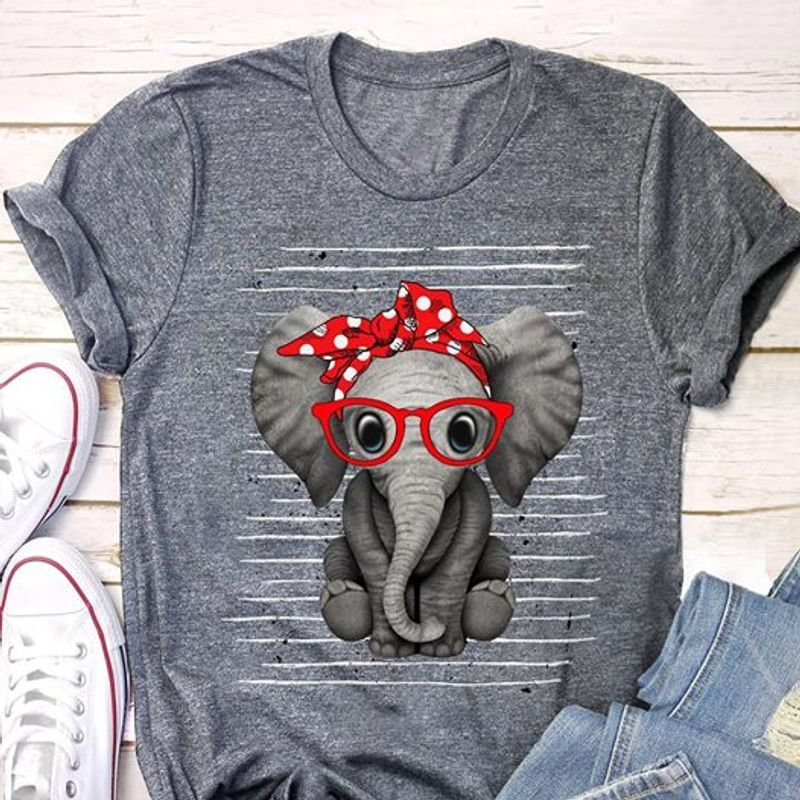 Elephant Bow Tie Red Tshirt Gray A2
