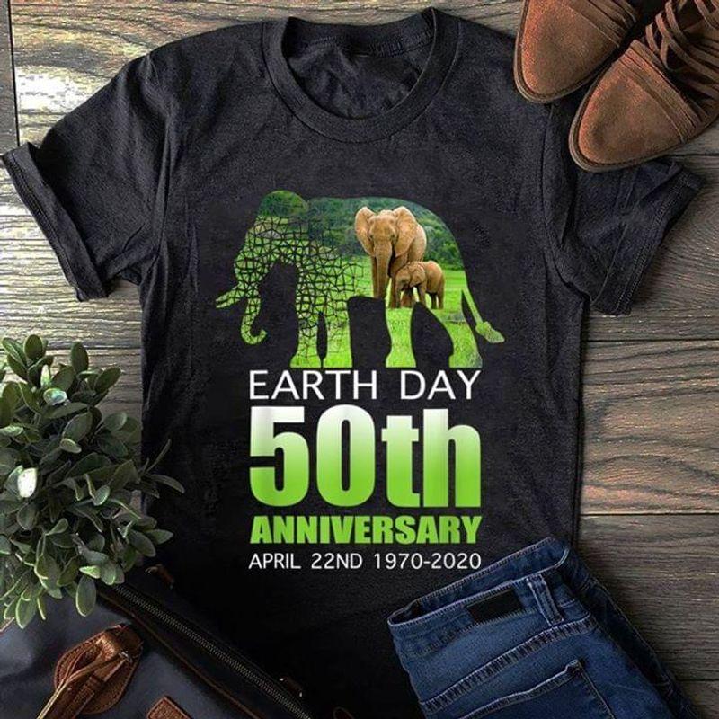 Elephant Earth Day 50th Anniversary April 22nd 1970 2020 T-shirt Black