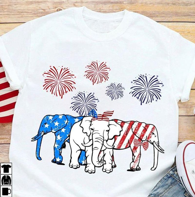 Elephants US Flag Independence Day 4th Of July White T Shirt Men/ Woman S-6XL Cotton