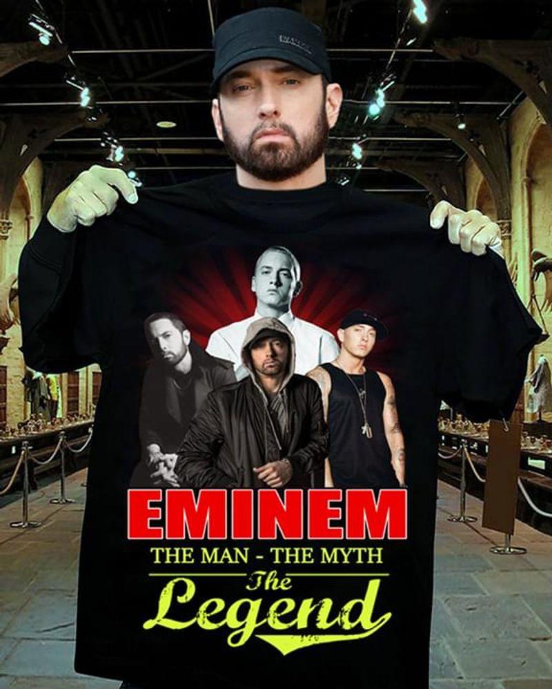 Eminem American Rapper The Man The Myth The Legend Black T Shirt Men And Women S-6XL Cotton
