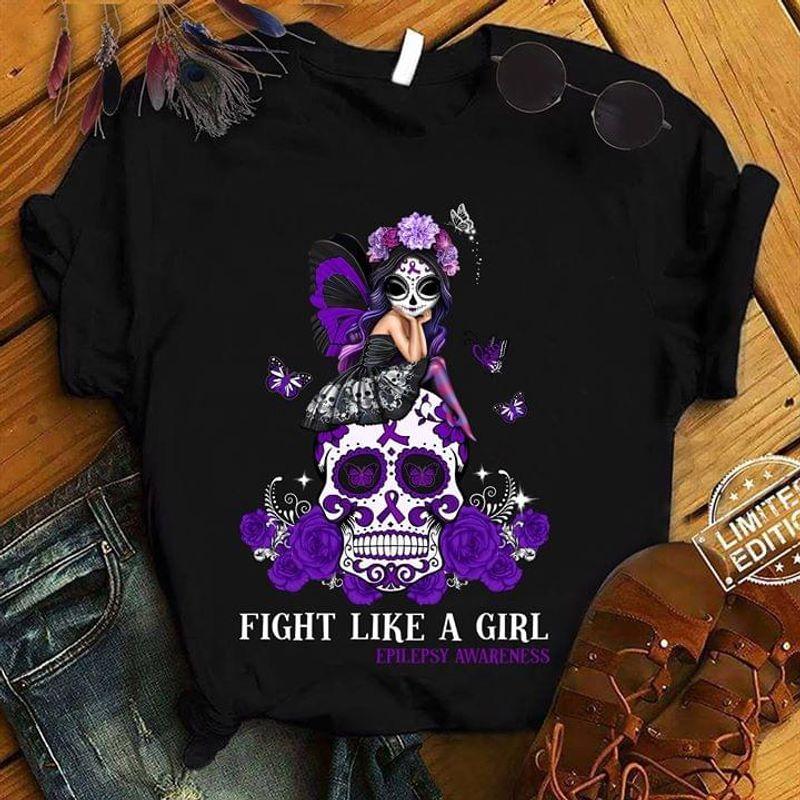 Epilepsy Awareness Fight Like A Girl Fairy Skull Black T Shirt Men/ Woman S-6XL Cotton