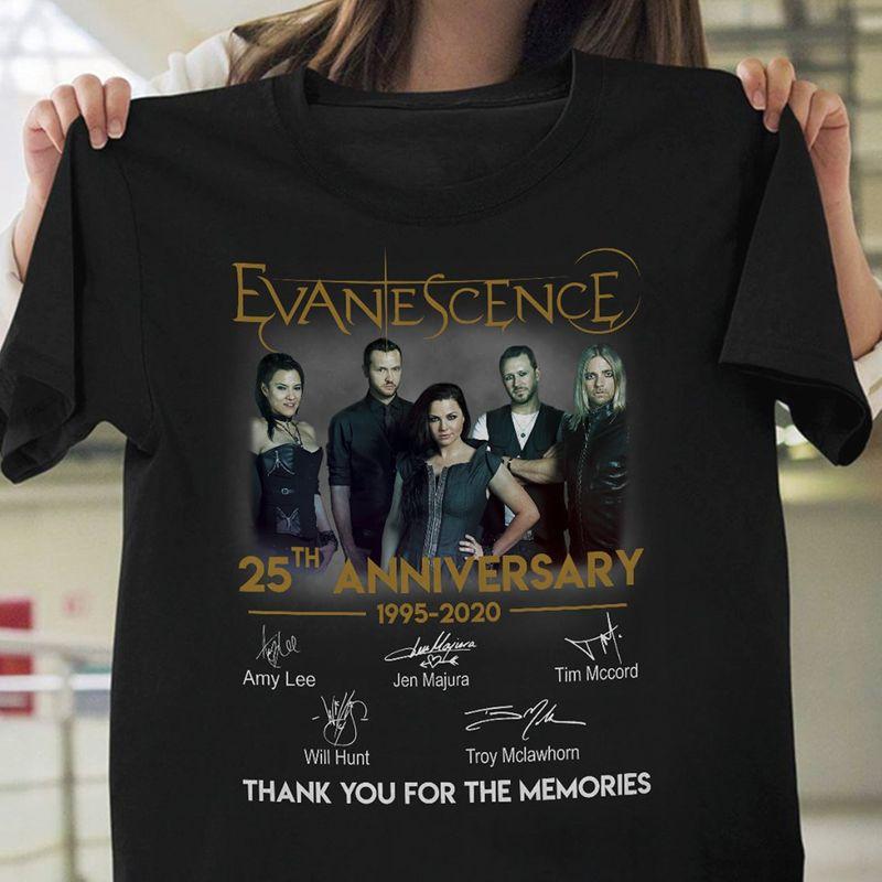 Evanescence 25 Th Anniersary Thank You For Memories  T-shirt Black B1
