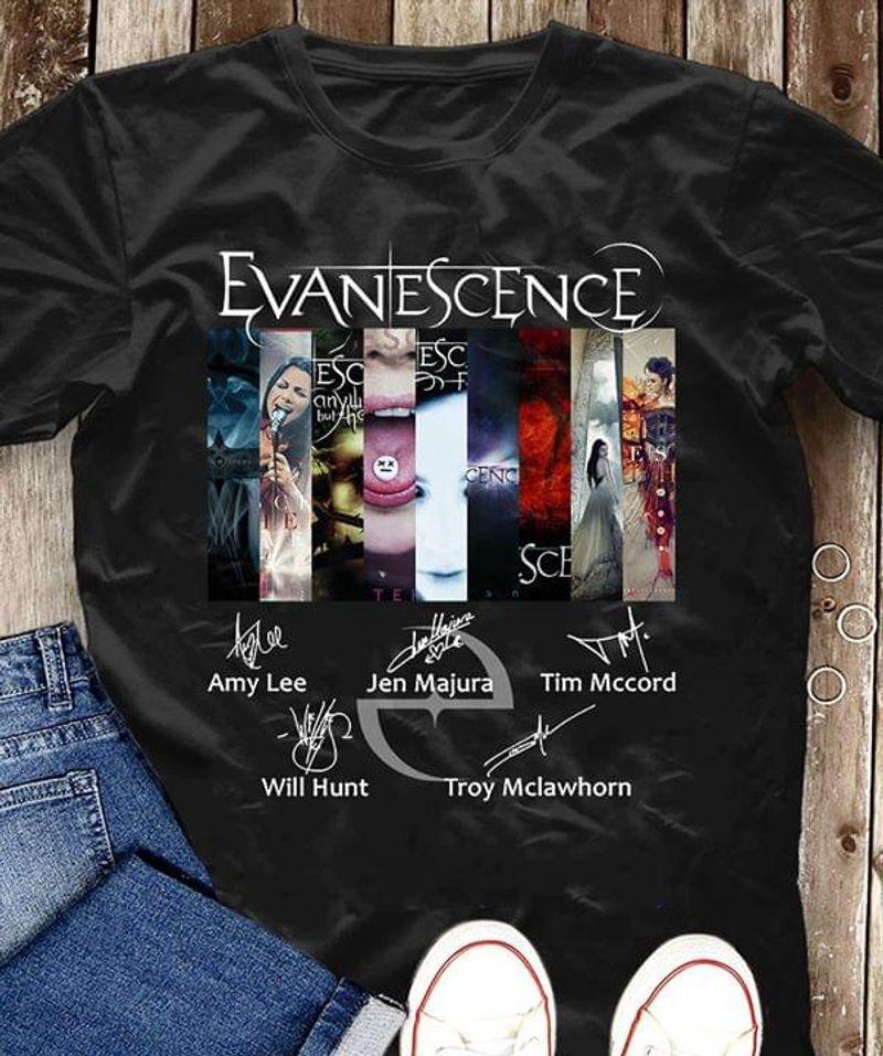 Evanescence Members Signature Shirt Rock Band Classic Black T Shirt Men And Women S-6XL Cotton