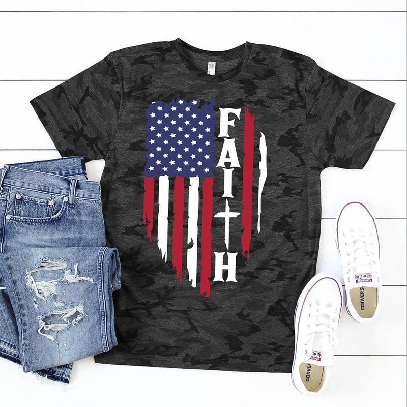 Faith American Flag T Shirt Black