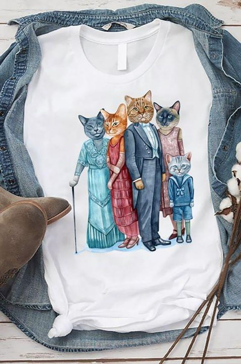 Family Of Cats Grandma Cat Sister Cat Brother Cat Mother Cat Father Cat Awesome Gift For Cats Lovers White T Shirt S-6xl Mens And Women Clothing