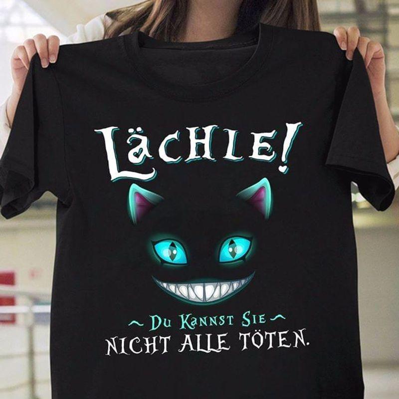 Fantasy Scary Smiling Cat Face Lachie Du Kannst Sie Night Alle Toten Black T Shirt Men/ Woman S-6XL Cotton
