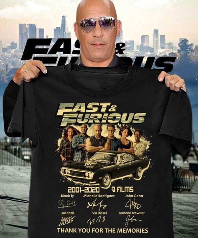 Fast & Furious Movie Lovers 2001 2020 9 Films Signatures Fan Gift Black T Shirt Men And Women S-6XL Cotton