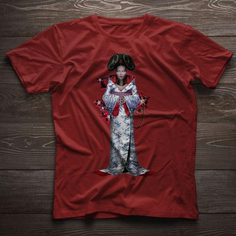 Female Wearing Kimono Interesting Gift For Youth Who Loves Japan Cultural Red T Shirt Men And Women S-6XL Cotton