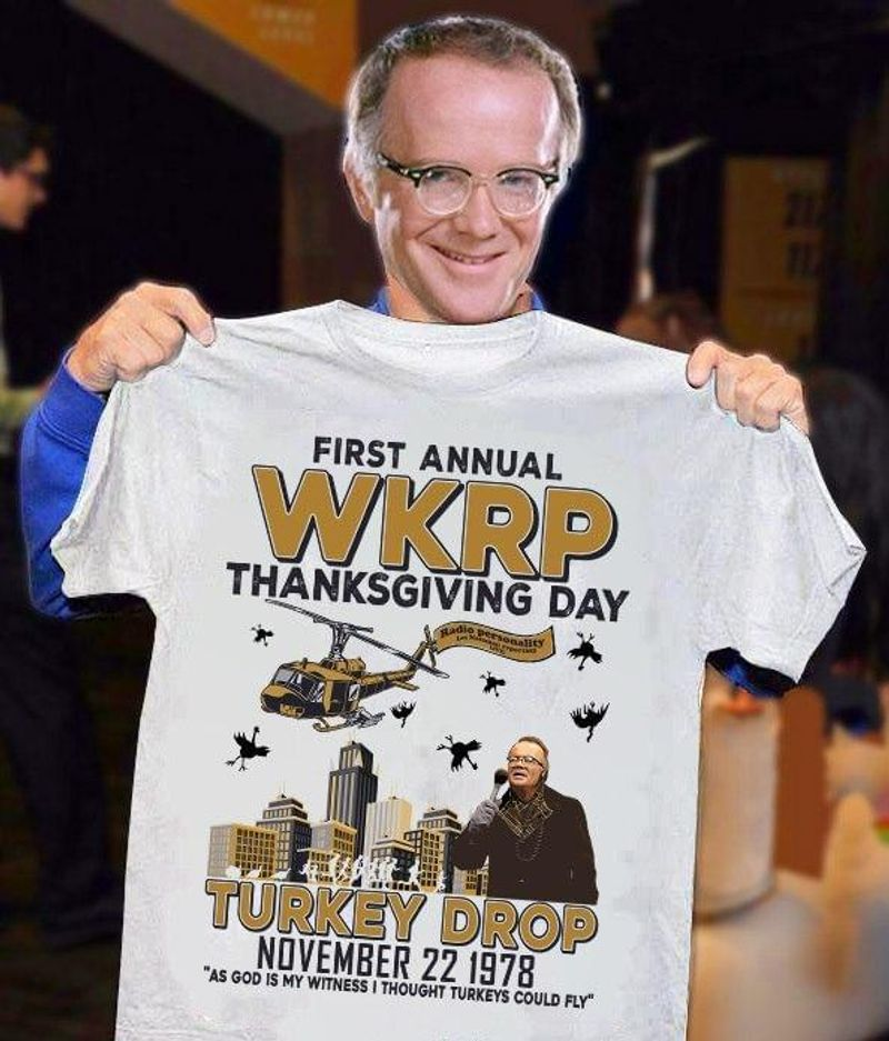 First Annual Wkrp Thanksgiving Day Turkey Drop Les Nessman Character White T Shirt Men And Women S-6XL Cotton