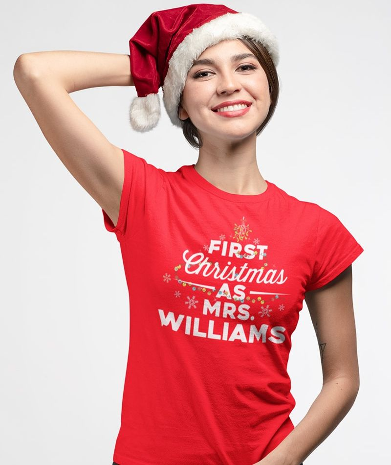 First Christmas As Mrs Williams   T-shirt Red A5