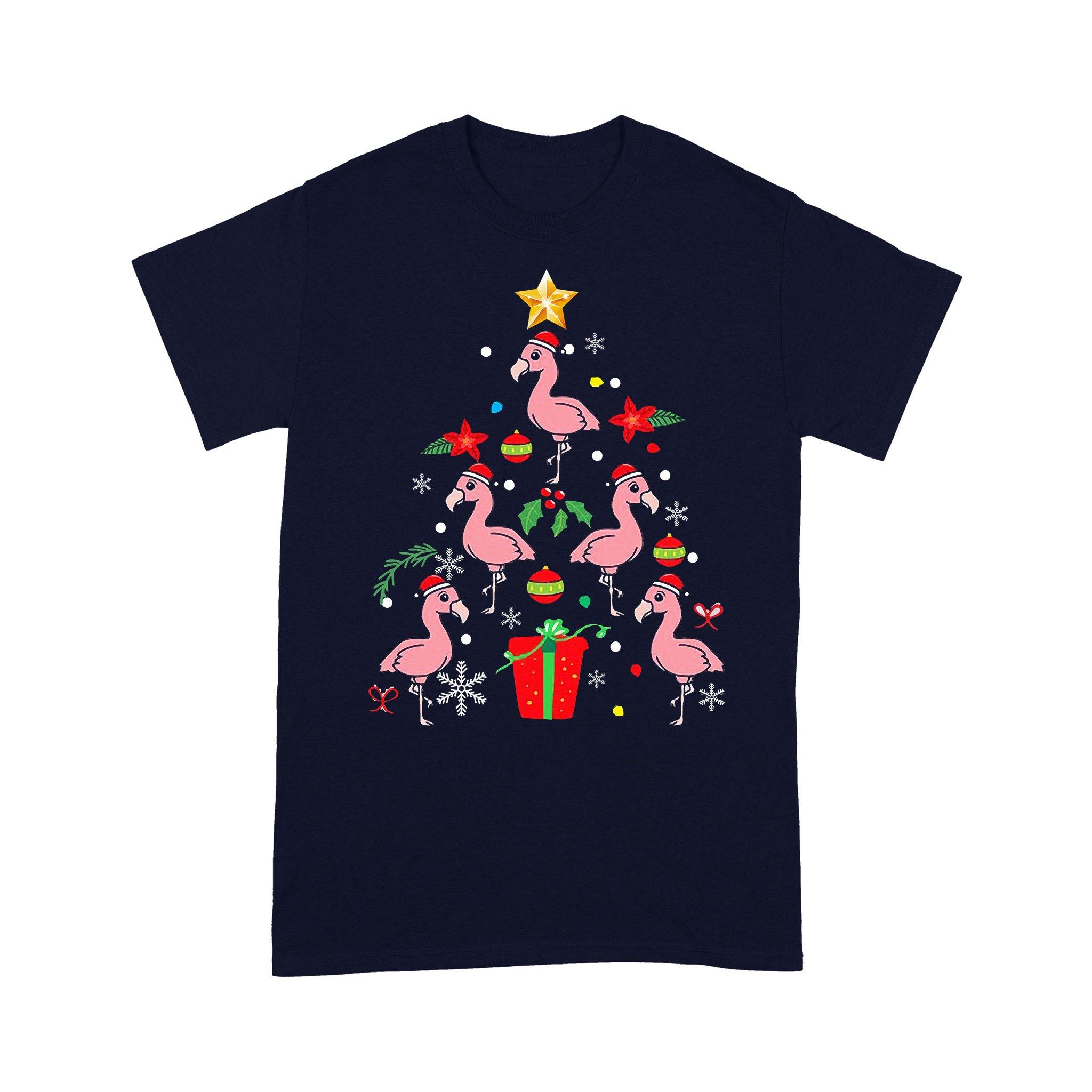 Flamingo Christmas Ornament Tree Xmas Mom Dad Gift T-shirt