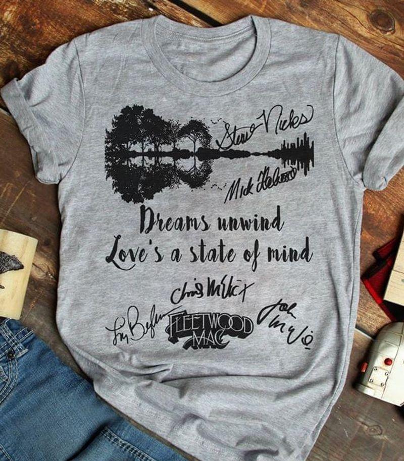 Fleetwood Mac Dreams Unwind Love's A State Of Mind Vintage Guitar Sport Grey T Shirt Men/ Woman S-6XL Cotton