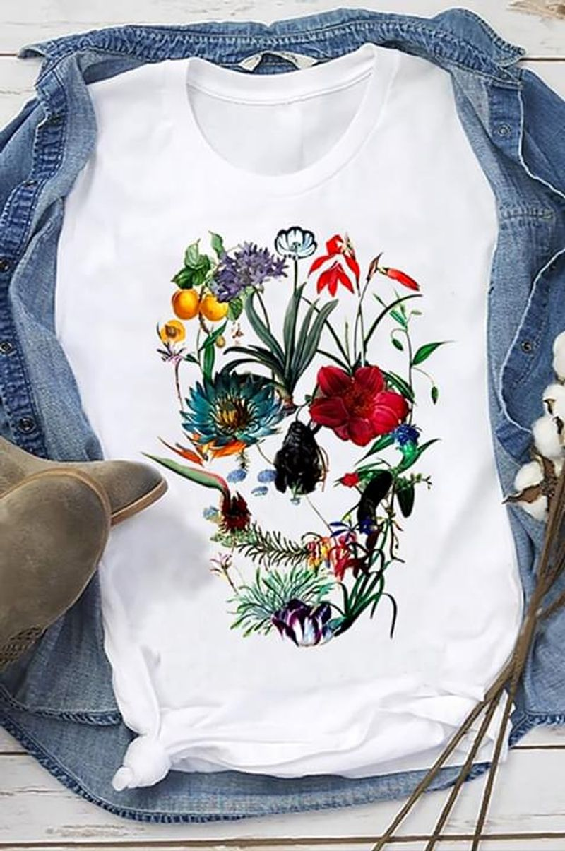 Floral Skull Human Skull Great Design For Skulls Lover Flowers Lover White T Shirt Men And Women S-6XL Cotton