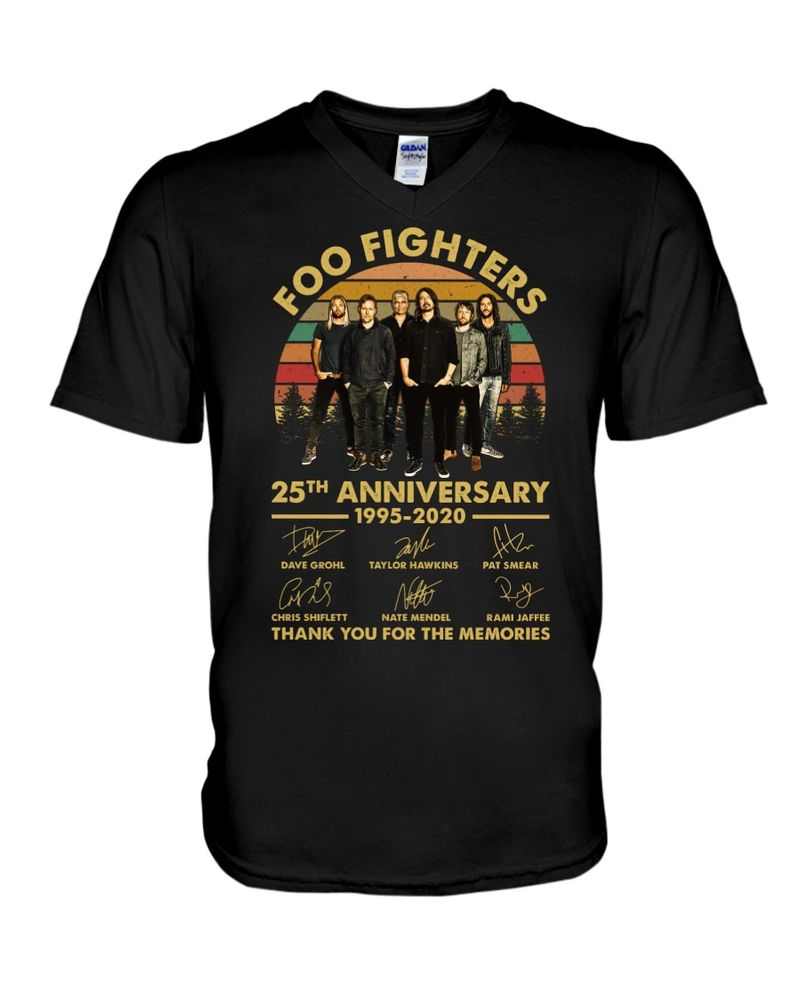 Foo Fighters Fans 25th Anniversary Thank You For The Memories Signature Black T Shirt Men And Women S-6XL Cotton