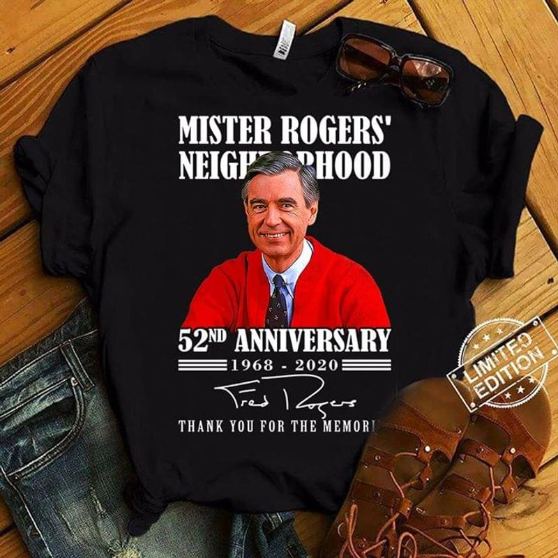 Fred Rogers Neighborhood 52th Anniversary Signature Thank You For The Memories Black T Shirt Men And Women S-6XL Cotton
