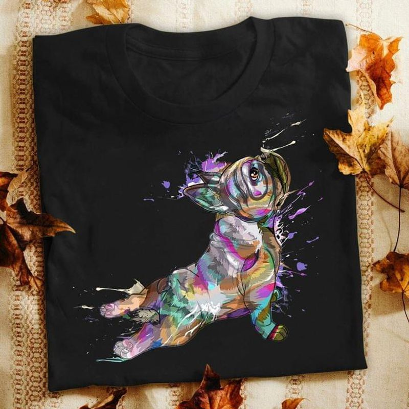 Frenchie Lovers Frenchie Dog Water Color T Shirt Gift For Dog Lovers Black T Shirt Men And Women S-6XL Cotton