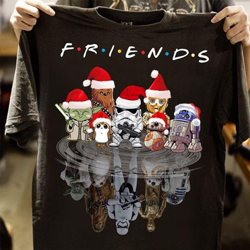 Friends Star Wars Yoda Chewbacca C3po Water Reflection T Shirt Black A5