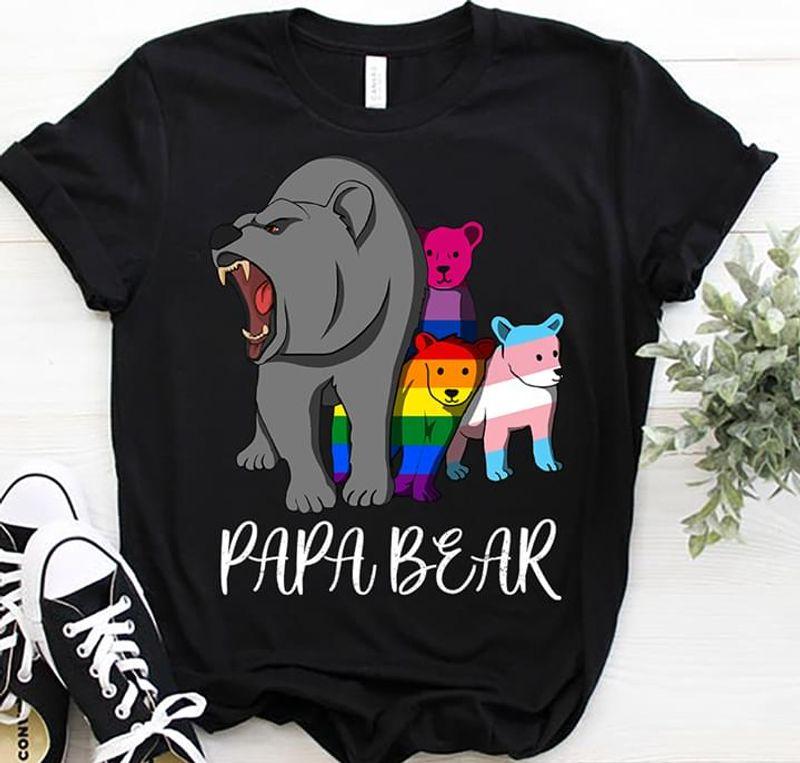 Funny Papa Bear Shirt Lgbt Community Lgbt Pride Classic Black T Shirt Men And Women S-6XL Cotton