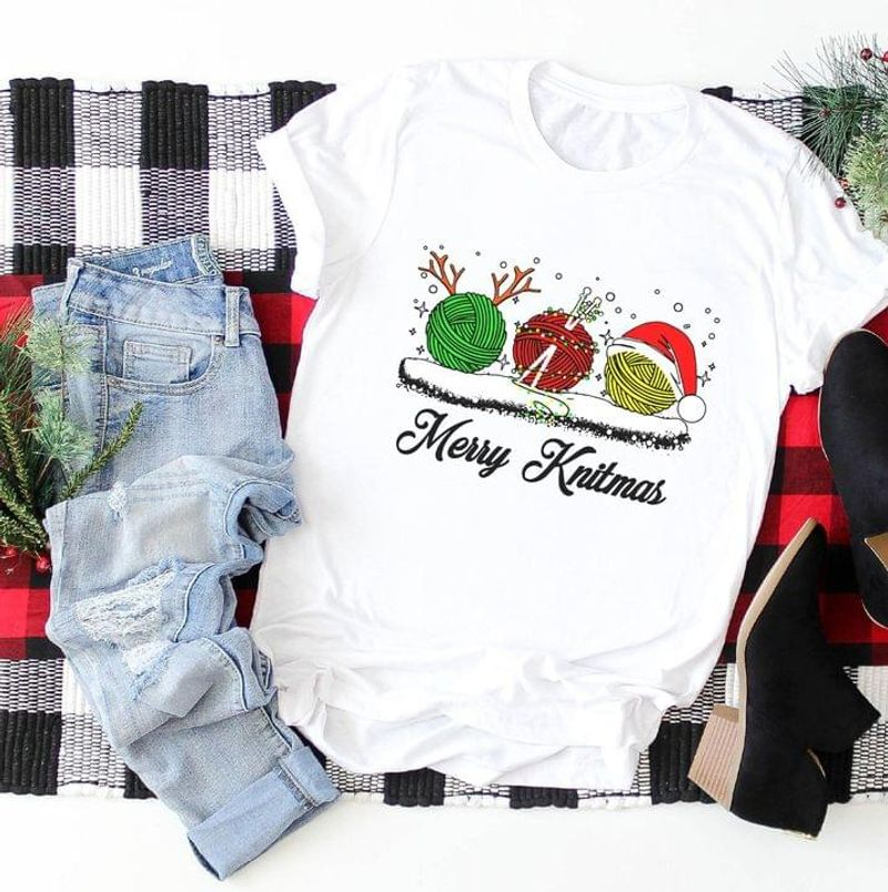 Funny Yarn Christmas Cosplay Merry Knitmas Best Xmas Gift Ideal For Girls And Womens White T Shirt Men And Women S-6XL Cotton