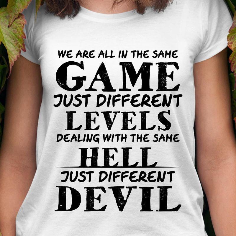 Game Levels Hell Devil Vintage Gift For Gamer Game Lovers White Unisex T-Shirt