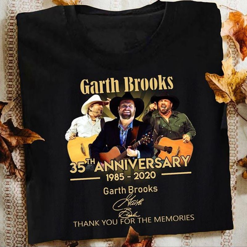 Garth Brooks Fans 35th Anniversary Thank You For The Memories Signature Black T Shirt Men And Women S-6XL Cotton