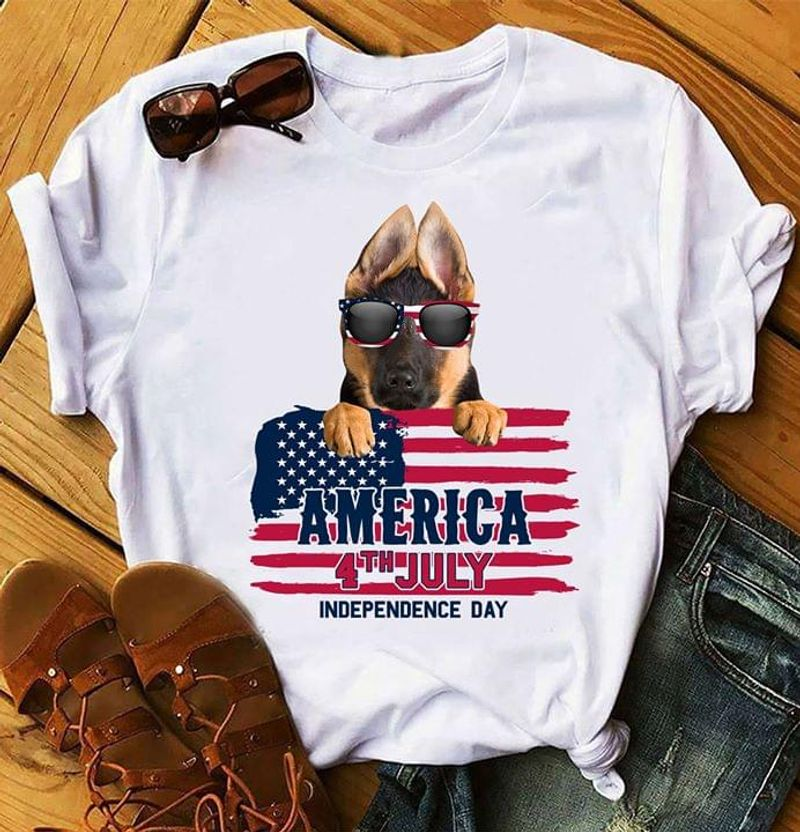 German Shepherd America 4th July Independence Day T Shirt Men/ Woman S-6XL Cotton