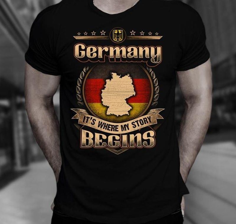 Germany It's Where My Story Begins Black T Shirt Men/ Woman S-6XL Cotton
