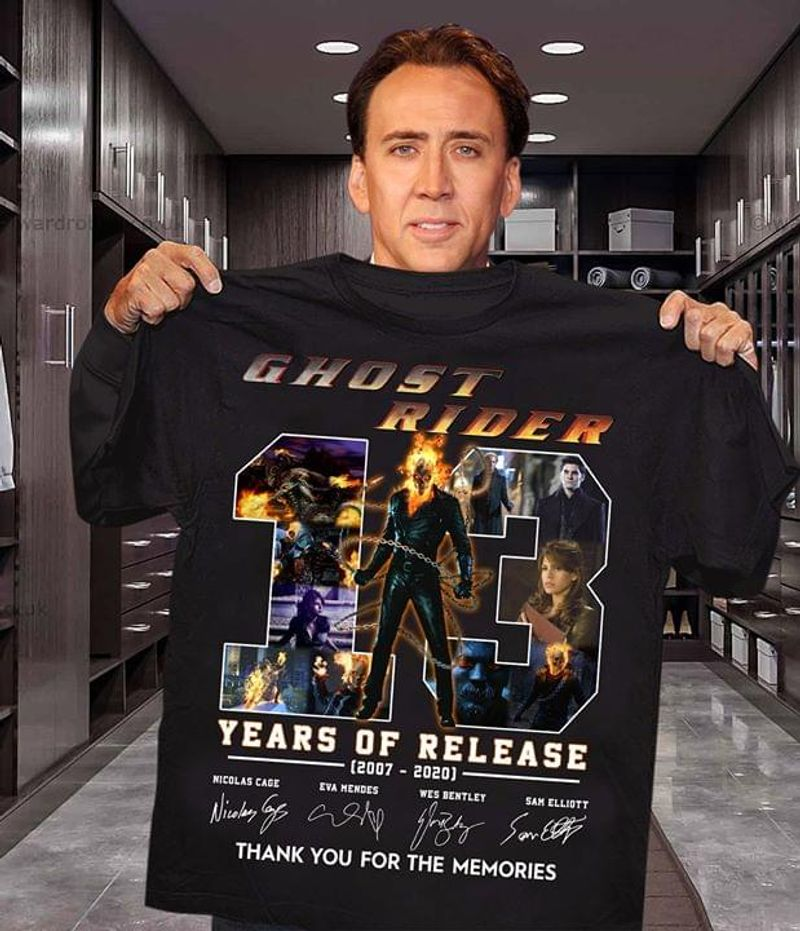 Ghost Rider 13 Years Of Release 2007-2020 T-Shirt Ghost Rider Signatures Black T Shirt Men And Women S-6XL Cotton