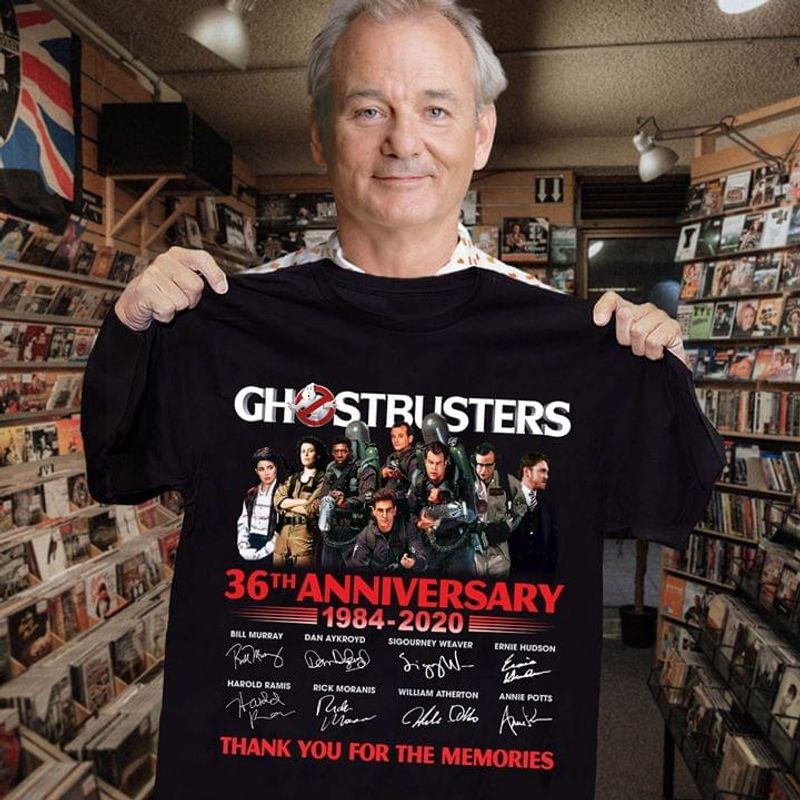 Ghostbusters Fans 36th Anniversary Thank You For The Memories Signature Black T Shirt Men And Women S-6xl Cotton
