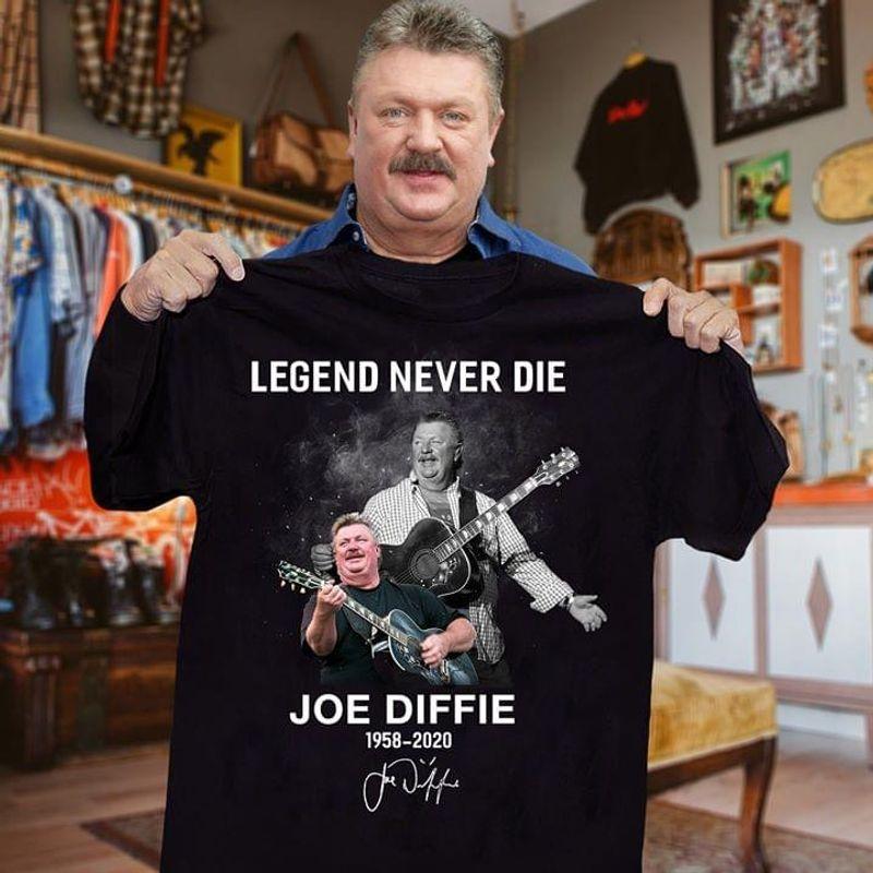 Gifts For Fans Legend Never Die Joe Diffie 1958-2020 Rock Guitars Black T Shirt Men And Women S-6XL Cotton