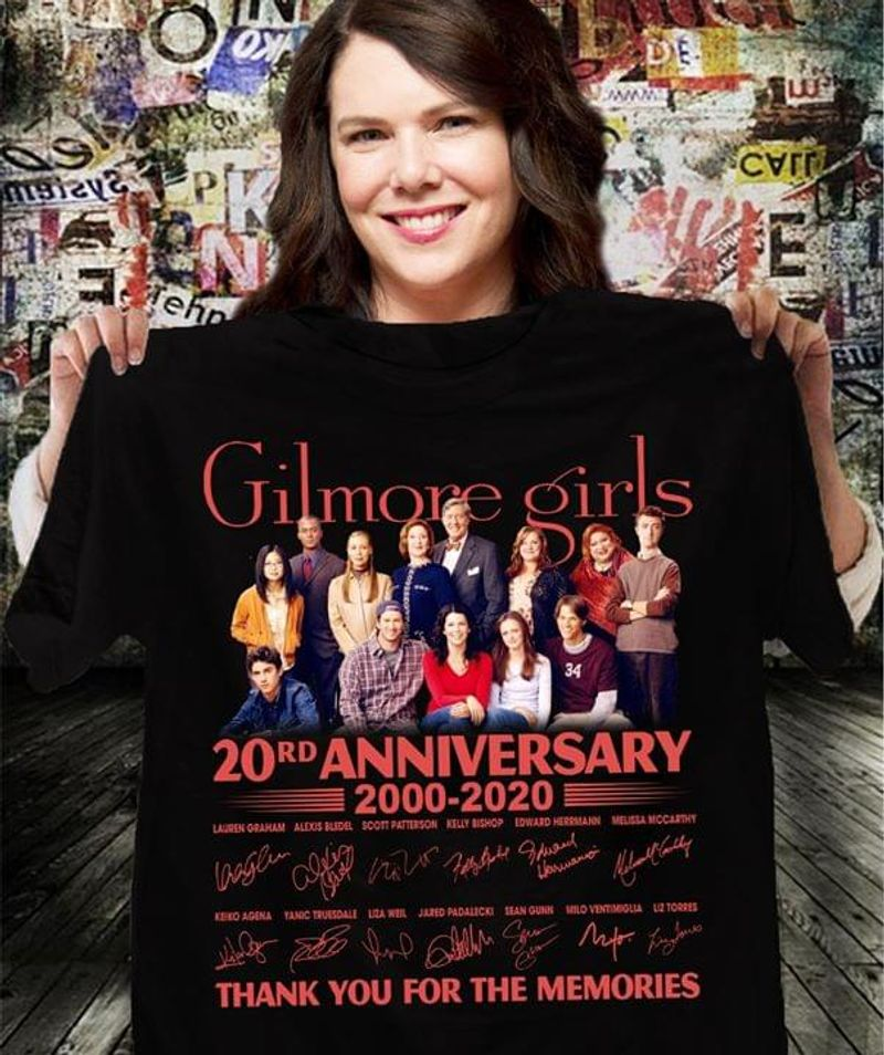 Gilmore Girls Fans 20rd Anniversary Thank You For The Memories Signature Black T Shirt Men And Women S-6XL Cotton