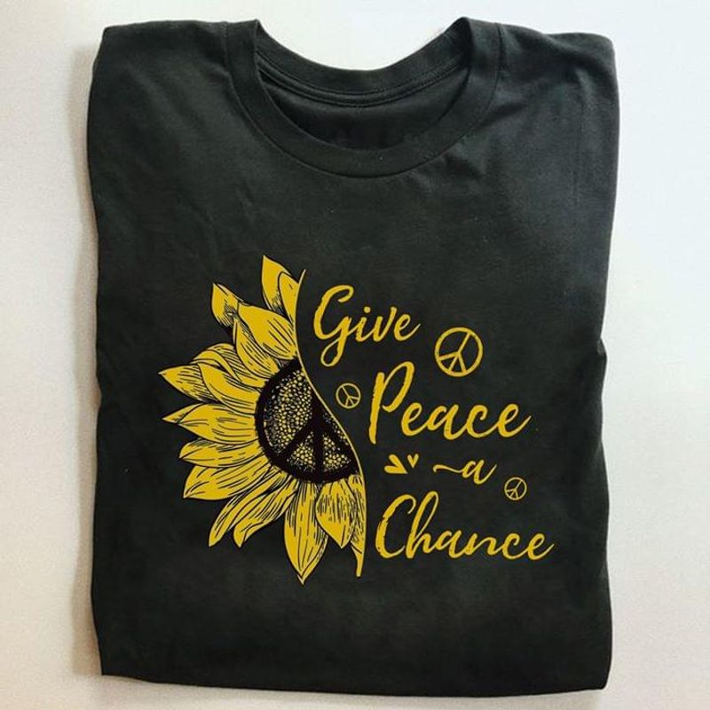 Give Peace A Chance Sunflower Charmomile Peace Symbol Calligraphy Black T Shirt Men And Women S-6XL Cotton