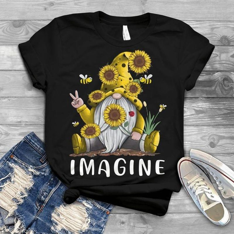 Gnome Sunflower With Bee Imagine Awesome Design Great Idea Gift Black T Shirt Men And Women S-6XL Cotton