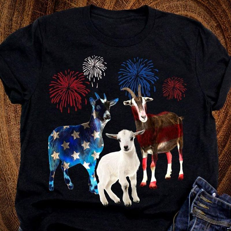 Goat Family US Flag Independence Day Black T Shirt Men/ Woman S-6XL Cotton