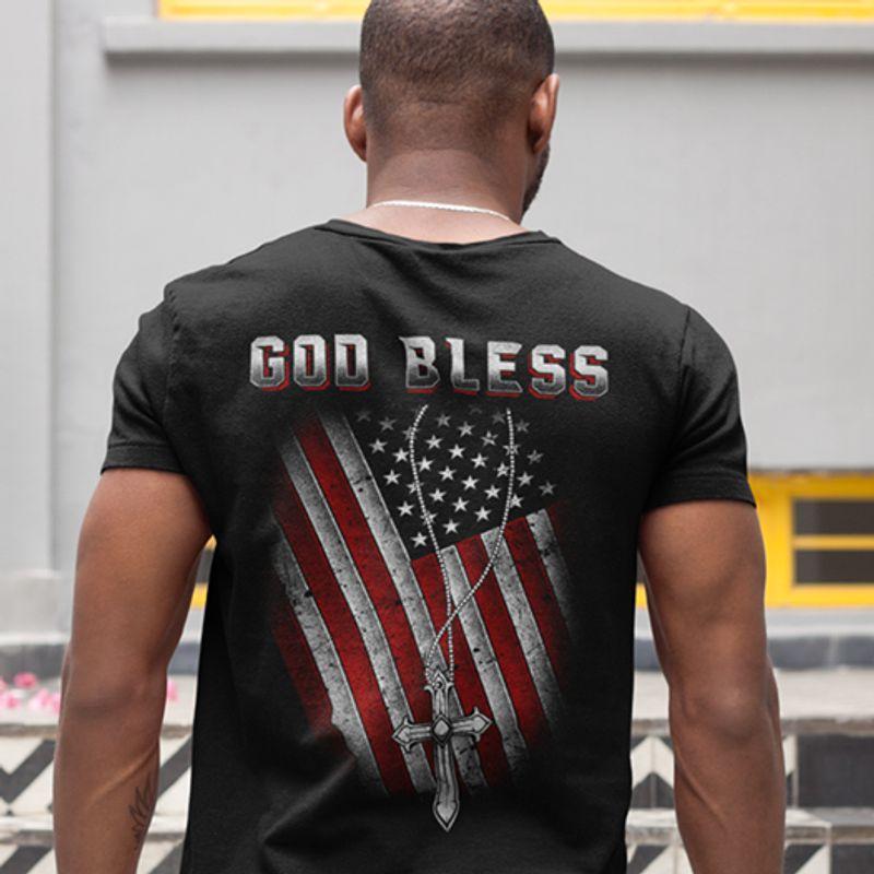 God Bless Flag T-shirt Black A8