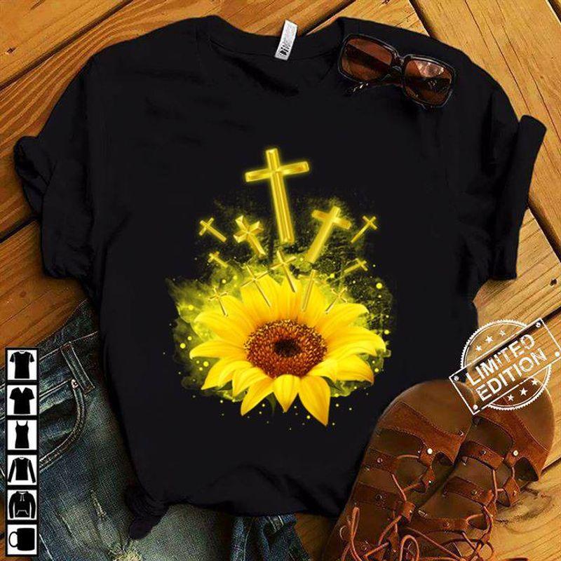 God Flowers T-Shirt Black B7