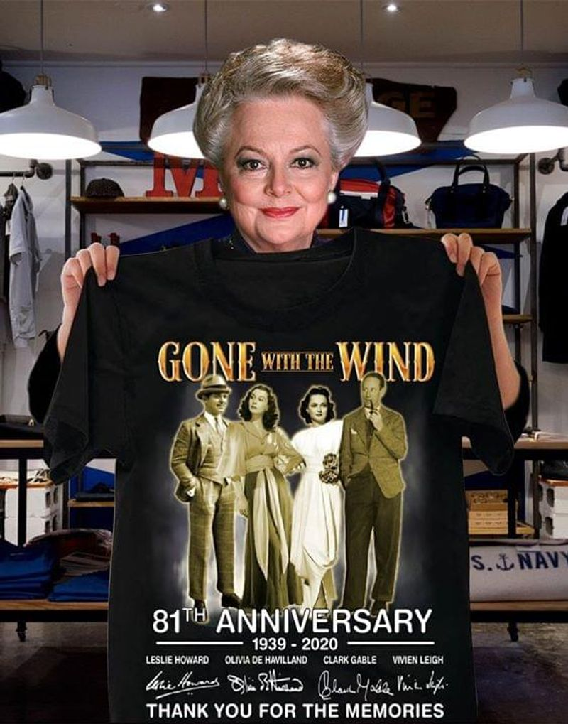 Gone With The Wind 81th Anniversary T-Shirt Gone With The Wind Signatures Black T Shirt Men And Women S-6XL Cotton