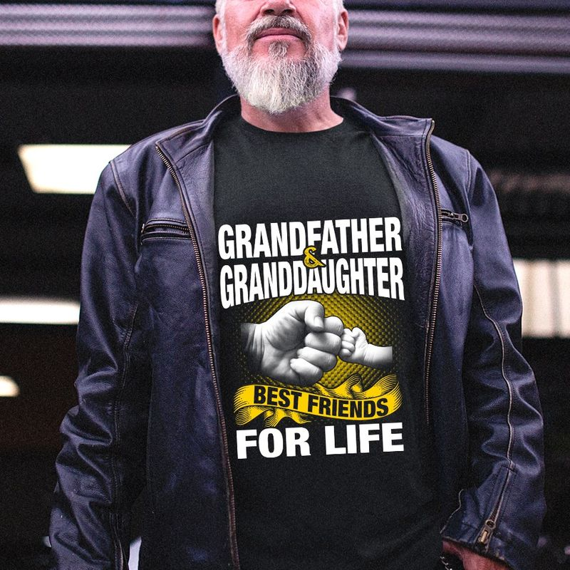 Grandfather Granddaughter Best Friends For Life  T-shirt Black B5