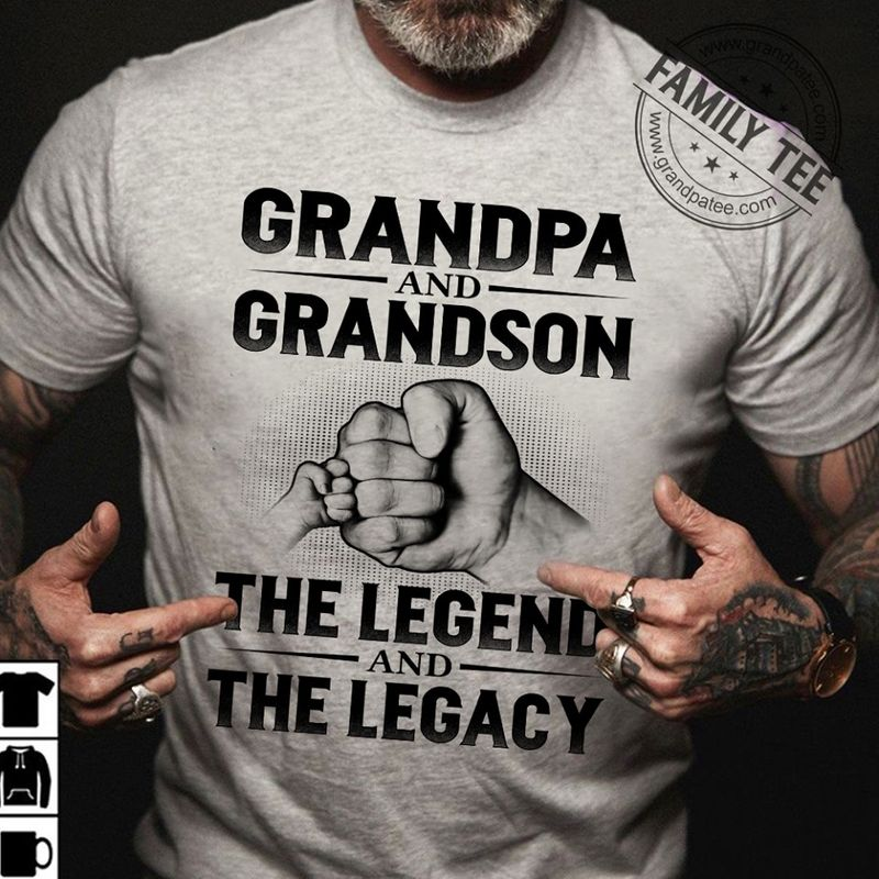 Grandpa And Grandson The Legend And The Legacy T-Shirt Grey A8