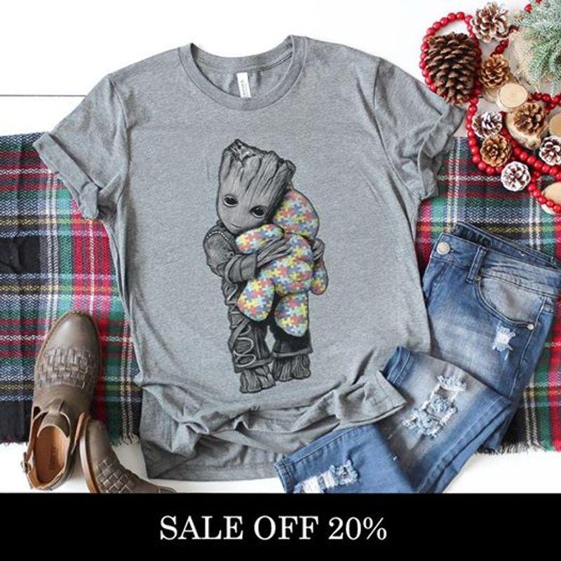 Groot Hugs Teddy Bears Gray Shirt B7
