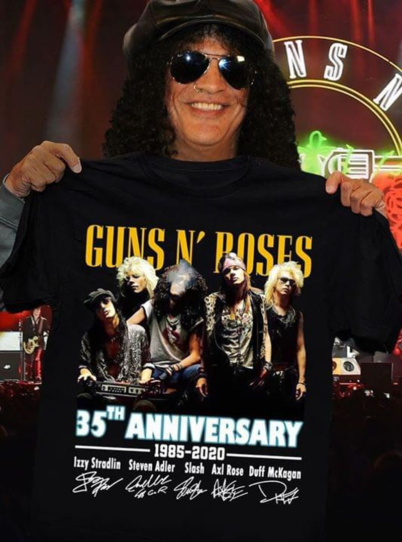 Guns N Roses 35Th Anniversary Signatures Nice Design For Hard Rock Fans BlackT Shirt Men/ Woman S-6XL Cotton