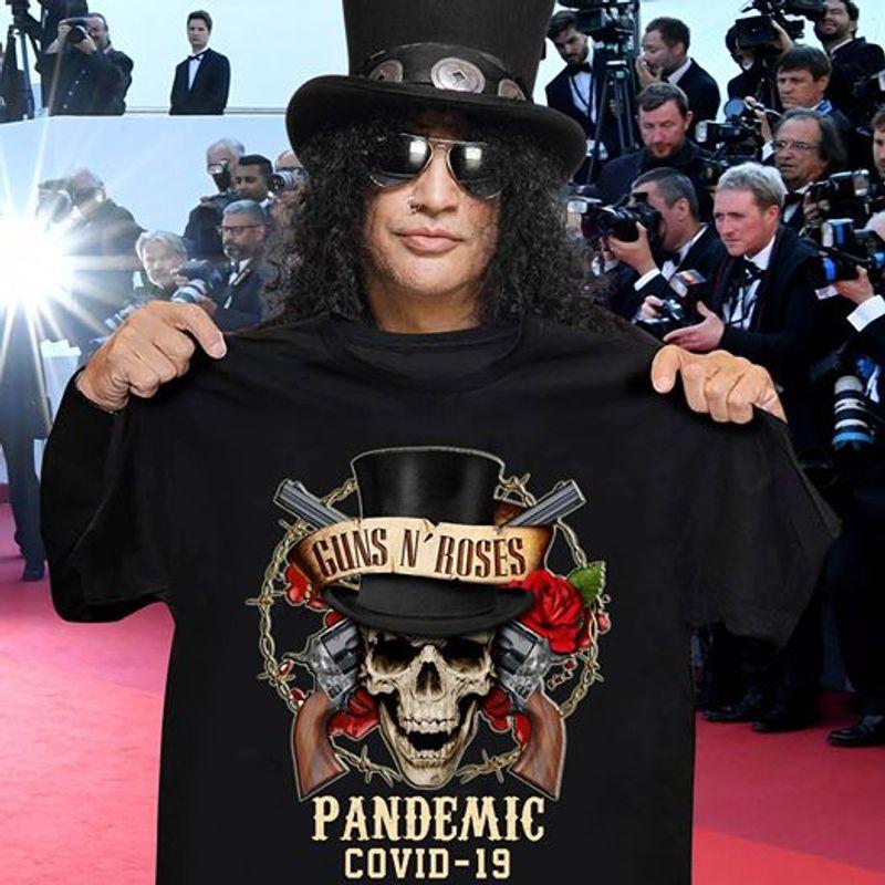 Guns N Roses Pandemic Skulls And Roses  T Shirt Black