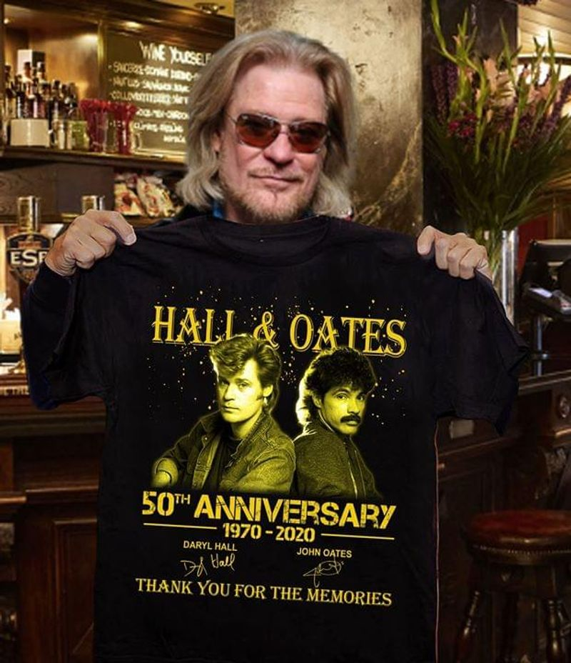 Hall & Oates 50th Anniversary Thank You For The Memories Hall & Oates Fans Gift Black T Shirt Men And Women S-6xl Cotton