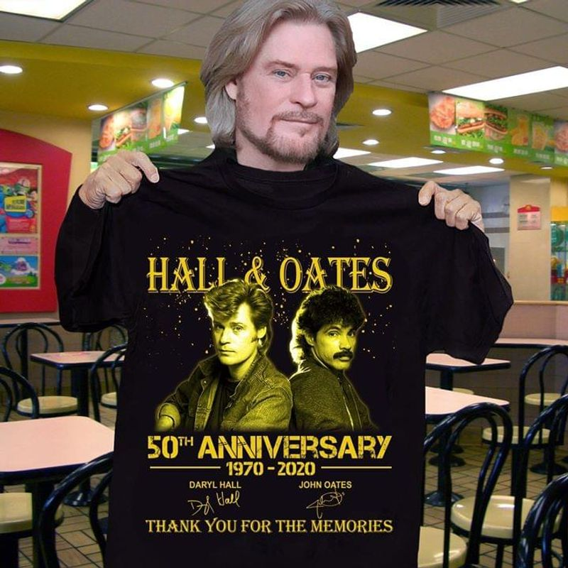 Hall & Oates Fans 50th Anniversary Thank You For The Memories Signature Black T Shirt Men/ Woman S-6XL Cotton