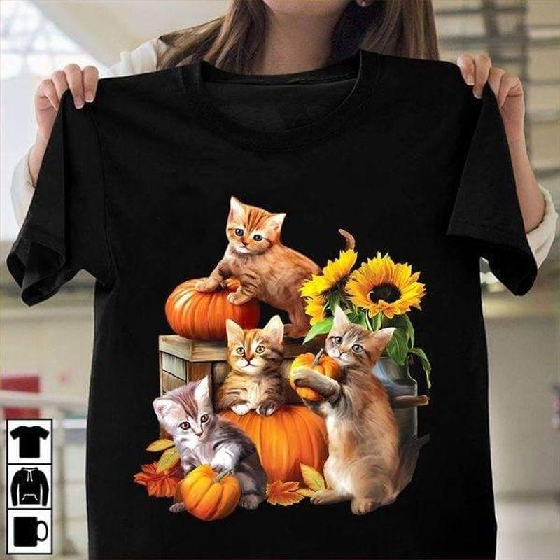 Halloween Cat Pumpkin Autumn Season T-shirt Cat Lovers Fall Lovers Halloween Gift Black T Shirt Men And Women S-6XL Cotton