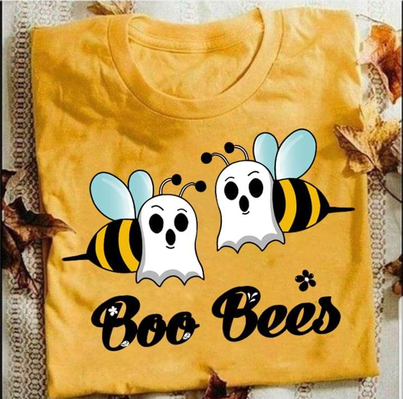 Halloween Funny Boo Bees T-shirt Boo Ghost Cosplay Tee Halloween Gift Gold T Shirt Men And Women S-6XL Cotton