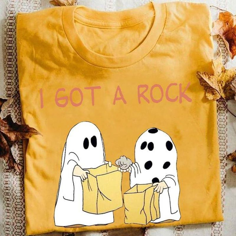 Halloween Ghost I Got A Rock Spooky Trick Or Treat Funny Halloween Ideal Street Style Gold T Shirt Men And Women S-6XL Cotton