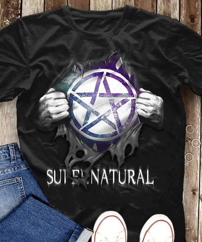 Hand Ripping Supernatural Logo T-Shirts Black